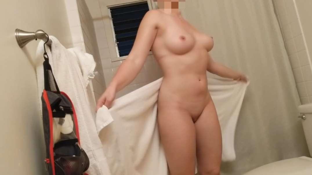 Brunette, after shower (short)