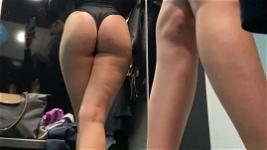 Blonde thief steals lingerie