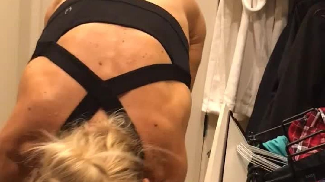 Up Close Cam on Wife in Closet